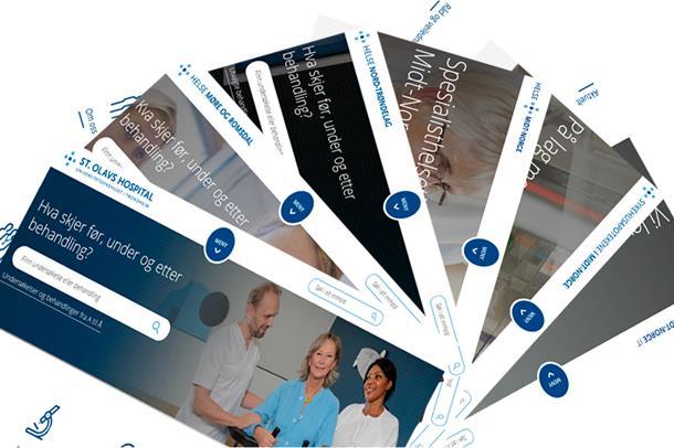 Collage av forsiden til nettstedene i Helse Midt.