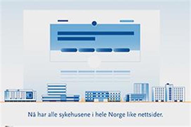 Stillbilde fra animasjonsfilm som informerer om nye nettsider for spesialisthelsetjenesten.