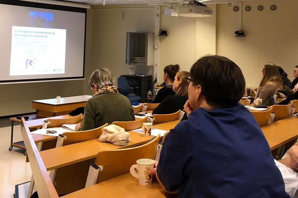 Johan Fredrik Skomsvoll står foran publikum i et auditorium og presenterer RSHU på en powerpoint. Foto.
