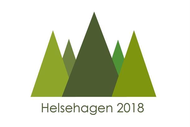 Helsehagens logo, bestående av fem trekanter satt sammen i ulik grønnfarge for å representere trær. Grafikk
